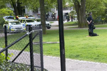 Polisens hundenhet beredda i Berzelii Park