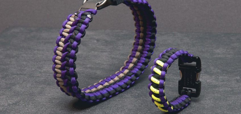 Paracord hundhalsband och matchande armband med reflex