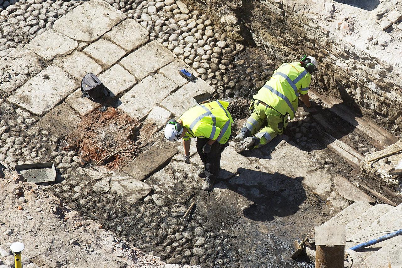 Arkeologiskt vägarbete vid Slussen