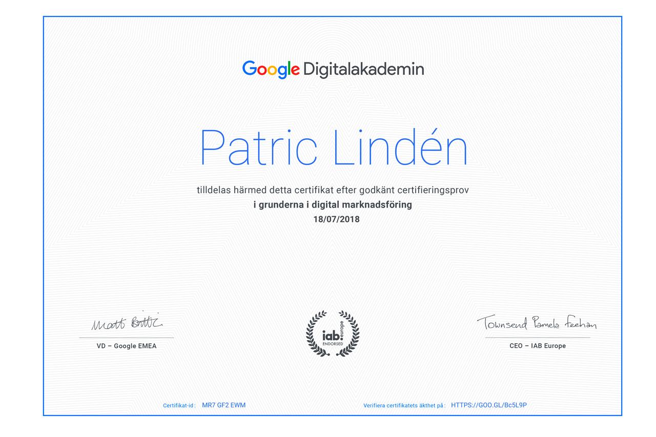 Certifiering Google Digital Marknadsföring.