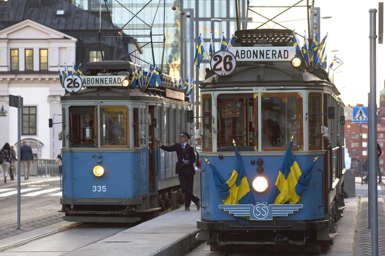 Museispårvagnar på ändstation Klarabergsgatan