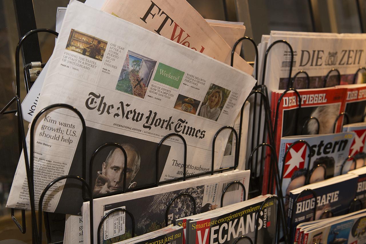 New York Times i tidningsställ