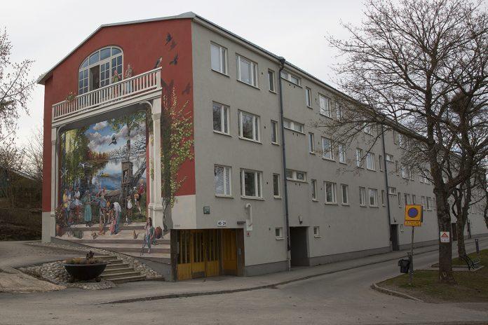 Fasadmålning Brunskogsbacken i Farsta Strand