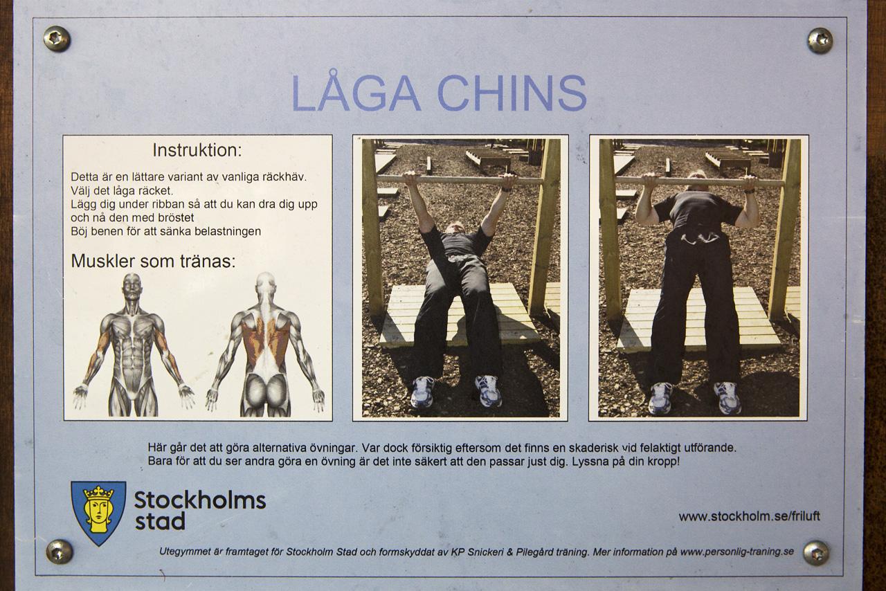 Muskelbeskrivning och instruktion låga chins.