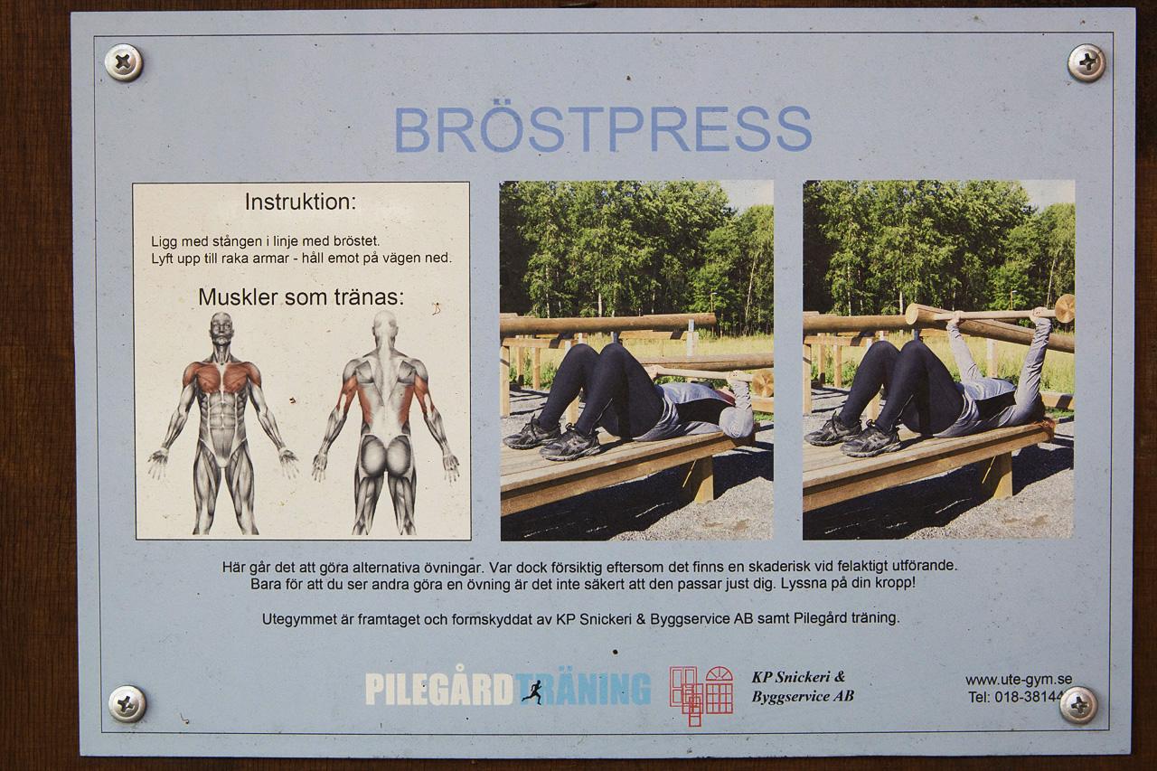 Instruktioner för bröstpress.