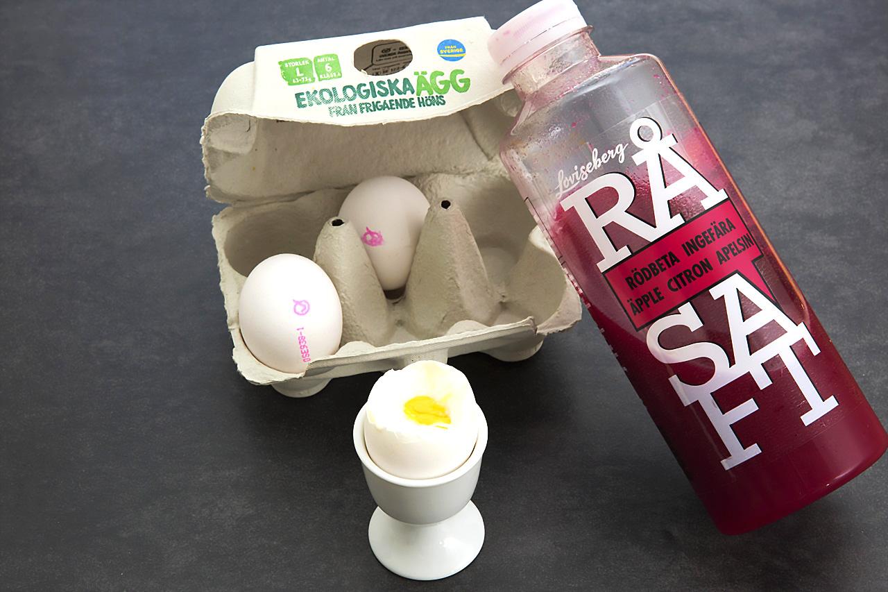 EKO ägg och RÅ saft rödbeta.