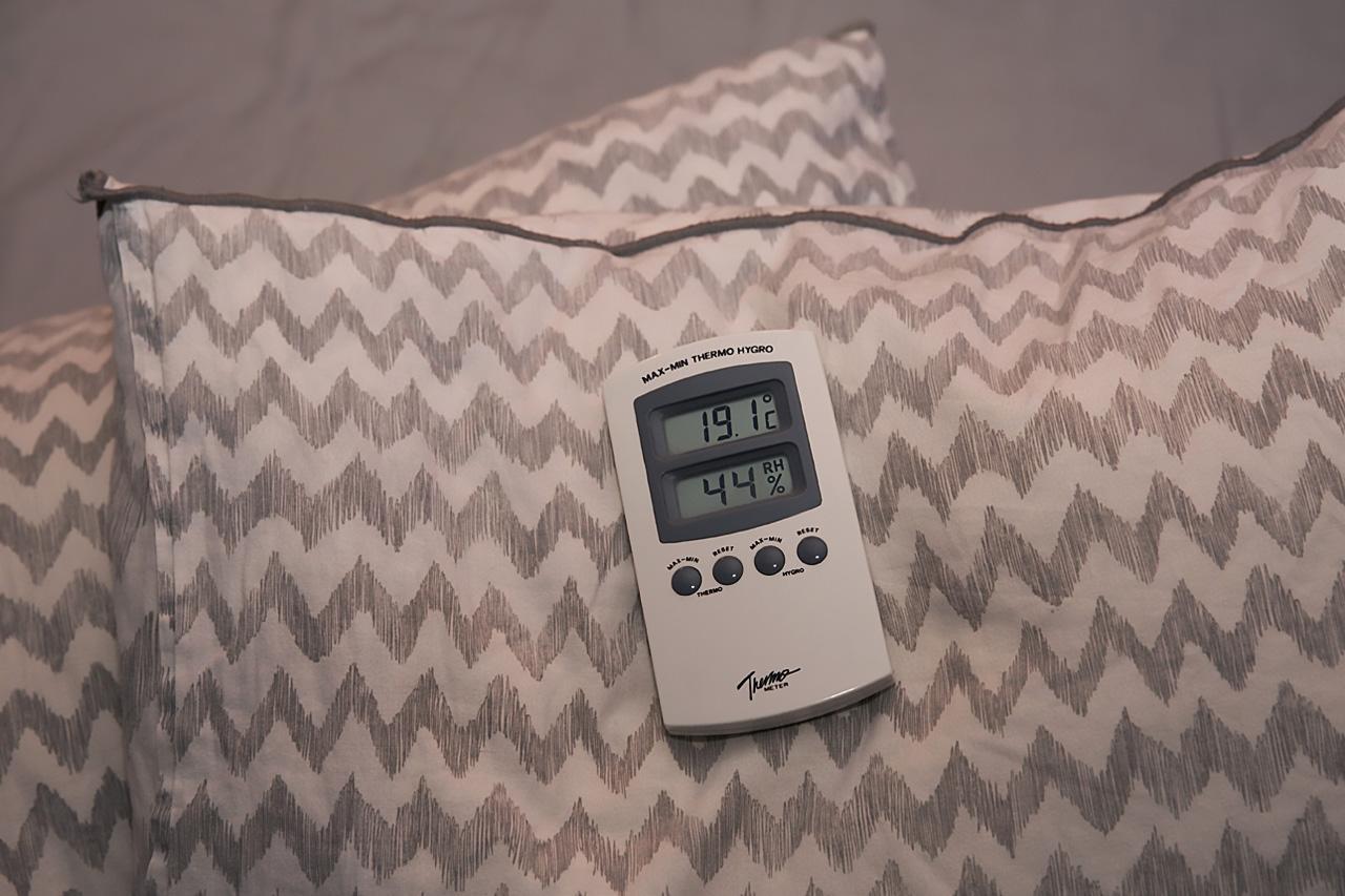 Termometer i sovrum.