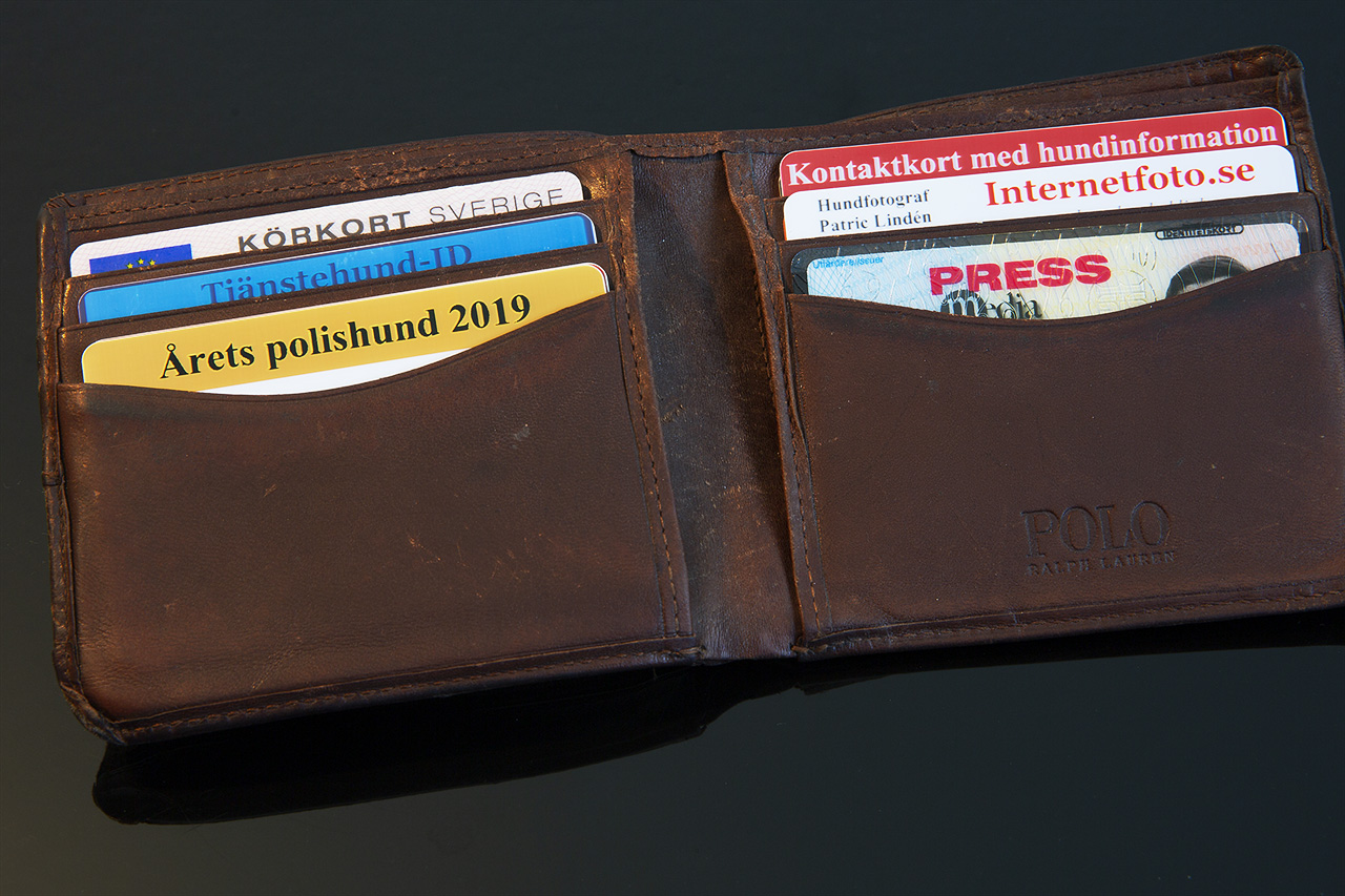 Hund-ID kort i plånboksfack
