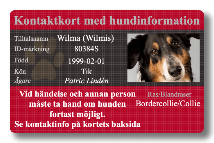 Hund-ID Kontaktkort